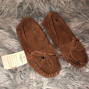 Anthro peace moccasins leather brown suede 9